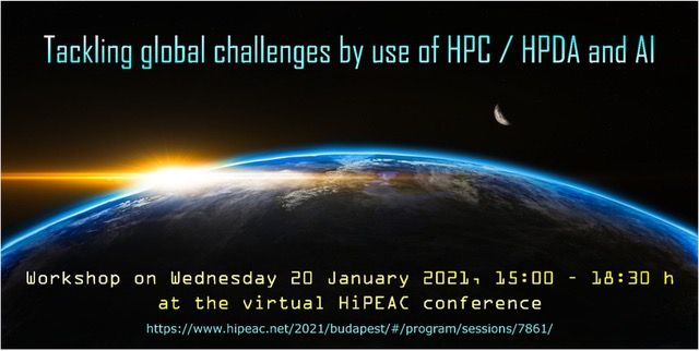 Tackling global challenges by use of HPC / HPDA and AI